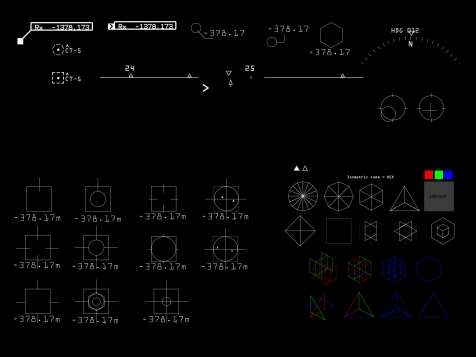 An idea board here to show a very practical lo-fi vector-based style for hud symbology. You'll often see the hex form appear in all of my UI work. It served as an iconic symbol in ADR1FT.